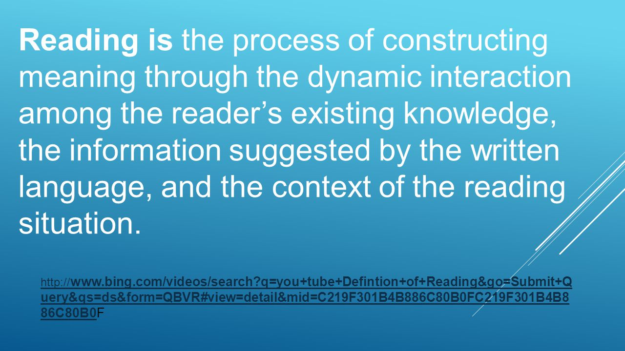 Reading is the process of constructing meaning through the dynamic interaction among the reader's existing knowledge, the information suggested by the