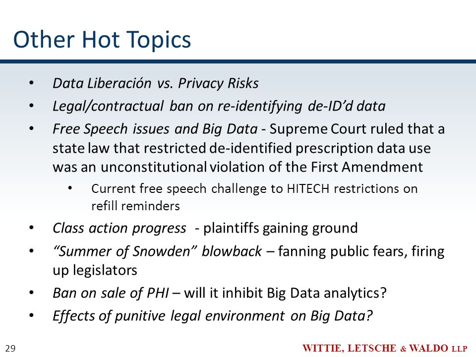 WITTIE, LETSCHE & WALDO LLP Other Hot Topics Data Liberación vs.