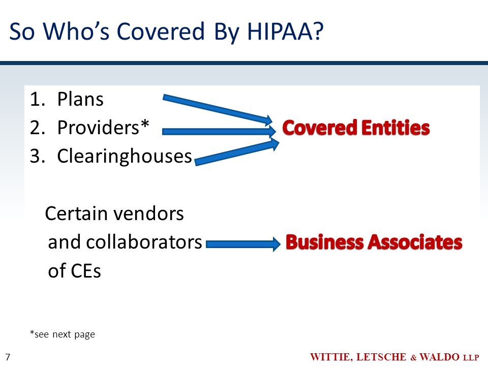 WITTIE, LETSCHE & WALDO LLP So Who's Covered By HIPAA? 7