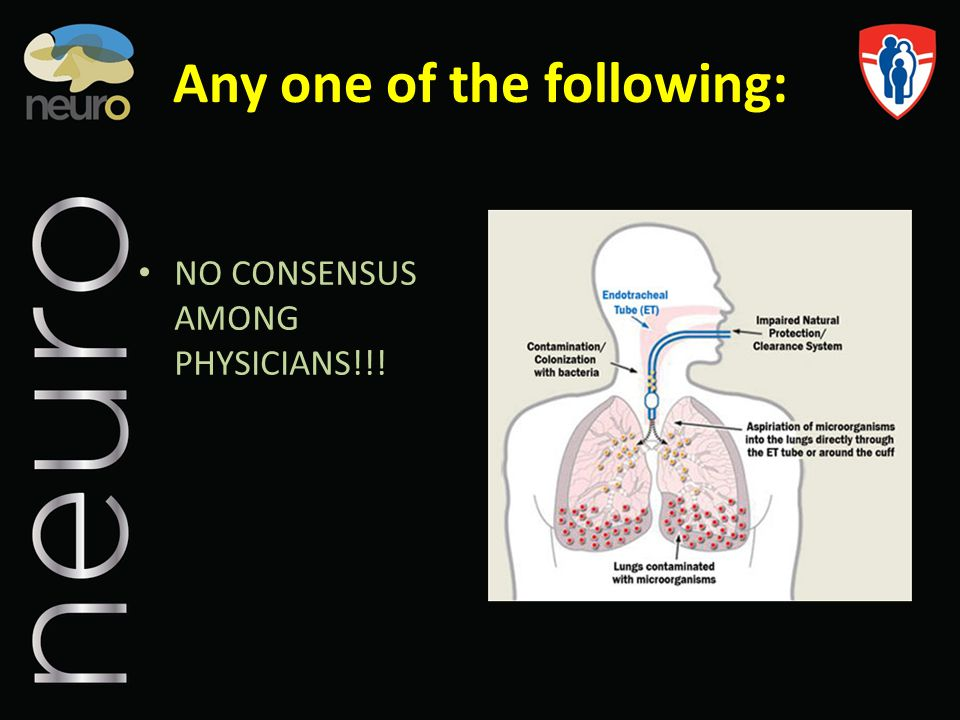 Any one of the following: NO CONSENSUS AMONG PHYSICIANS!!!