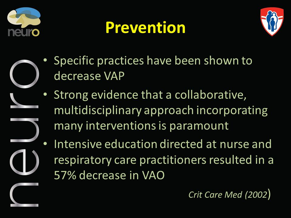 Prevention Specific practices have been shown to decrease VAP Strong evidence that a collaborative, multidisciplinary approach incorporating many inte