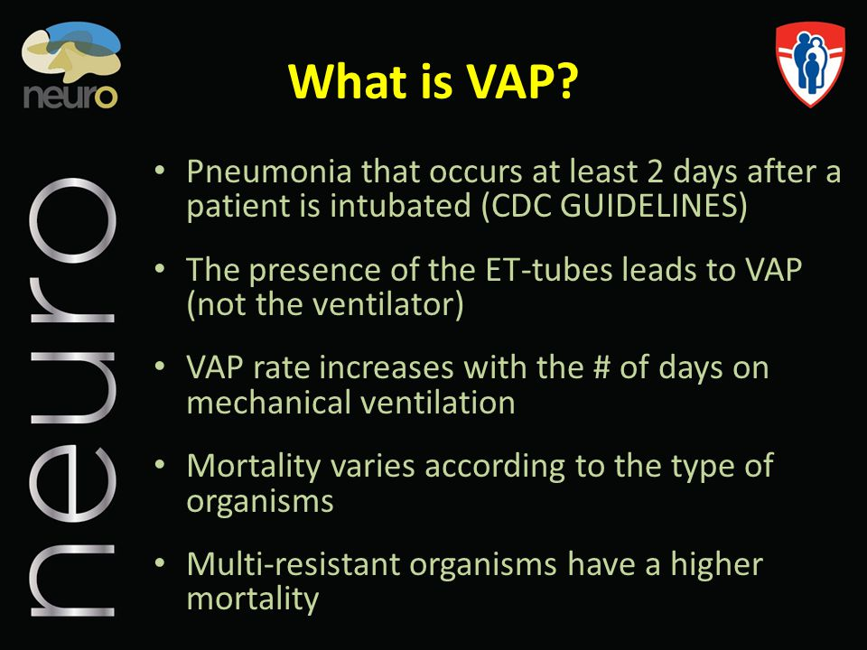 Summary Nosocomial pneumonia and especially VAP are the most frequent infectious complications in the ICU, and they significantly contribute to morbidity and mortality VAP is an important determinant of ICU and Hospital lengths of stay and healthcare costs No standard to diagnose Several simple preventative measures (VAP bundle) and timely initiation of appropriate antibiotics ensure better outcomes in pts with VAP