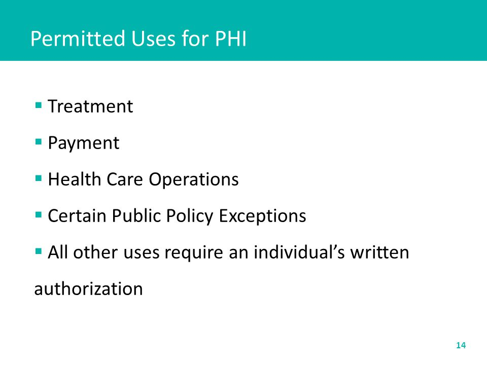 Permitted Uses for PHI 14  Treatment  Payment  Health Care Operations  Certain Public Policy Exceptions  All other uses require an individual's w