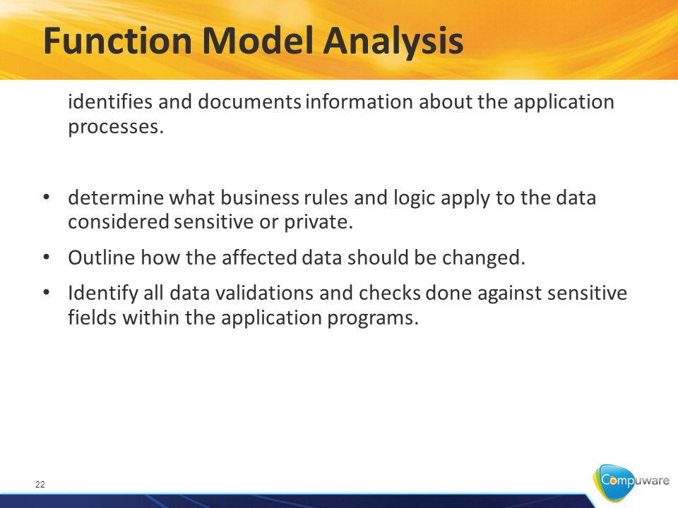 Function Model Analysis 22 identifies and documents information about the application processes.