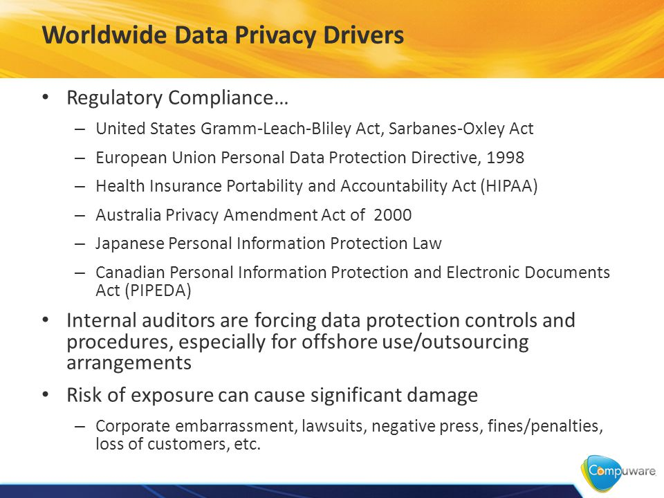 Worldwide Data Privacy Drivers Regulatory Compliance… – United States Gramm-Leach-Bliley Act, Sarbanes-Oxley Act – European Union Personal Data Protection Directive, 1998 – Health Insurance Portability and Accountability Act (HIPAA) – Australia Privacy Amendment Act of 2000 – Japanese Personal Information Protection Law – Canadian Personal Information Protection and Electronic Documents Act (PIPEDA) Internal auditors are forcing data protection controls and procedures, especially for offshore use/outsourcing arrangements Risk of exposure can cause significant damage – Corporate embarrassment, lawsuits, negative press, fines/penalties, loss of customers, etc.