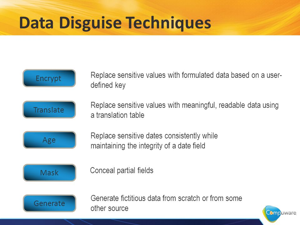 Data Disguise Techniques Replace sensitive values with meaningful, readable data using a translation table Generate fictitious data from scratch or from some other source Replace sensitive values with formulated data based on a user- defined key Replace sensitive dates consistently while maintaining the integrity of a date field Conceal partial fields Encrypt Translate Age Mask Generate