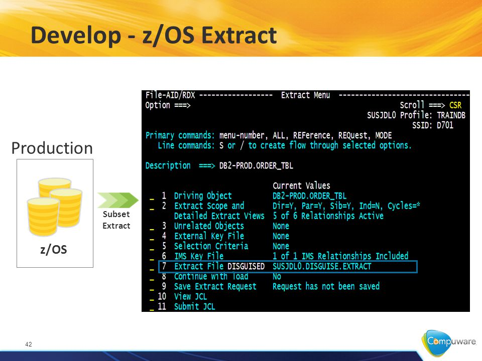 Develop - z/OS Extract 42 z/OS Production Subset Extract
