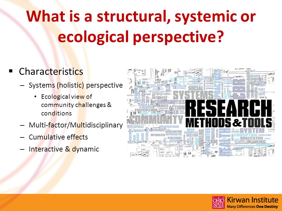 What is a structural, systemic or ecological perspective.