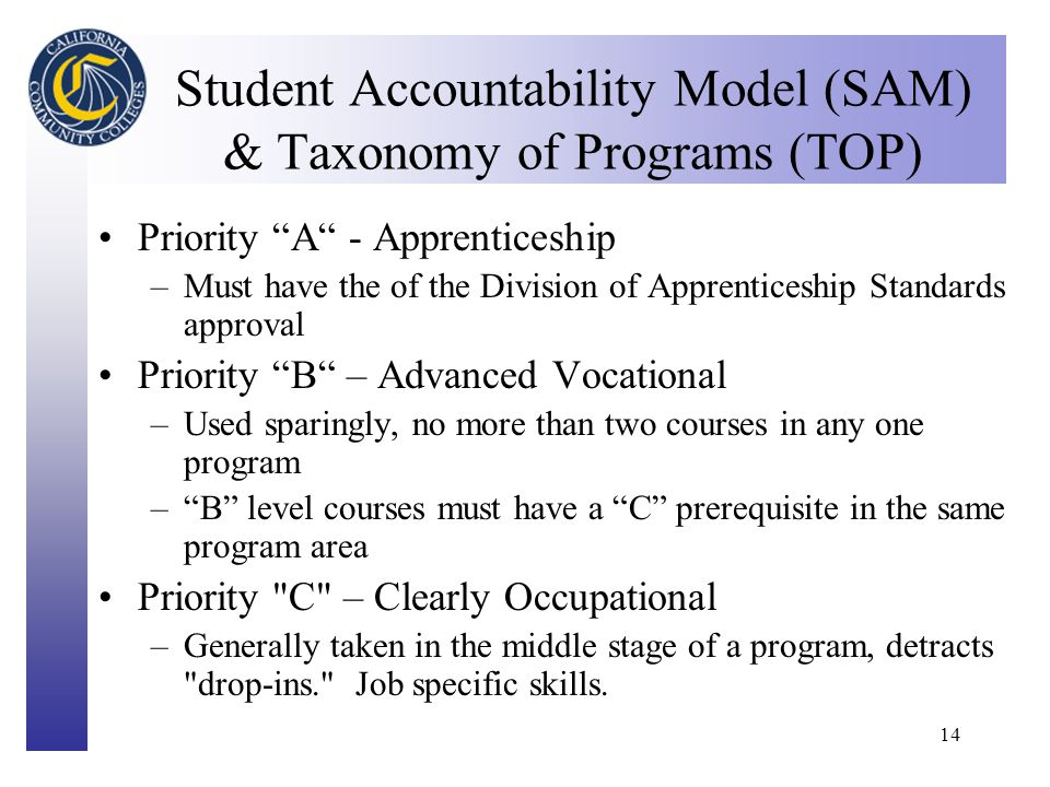 Click to edit Master title style 14 Student Accountability Model (SAM) & Taxonomy of Programs (TOP) Priority A - Apprenticeship –Must have the of the Division of Apprenticeship Standards approval Priority B – Advanced Vocational –Used sparingly, no more than two courses in any one program – B level courses must have a C prerequisite in the same program area Priority C – Clearly Occupational –Generally taken in the middle stage of a program, detracts drop-ins. Job specific skills.