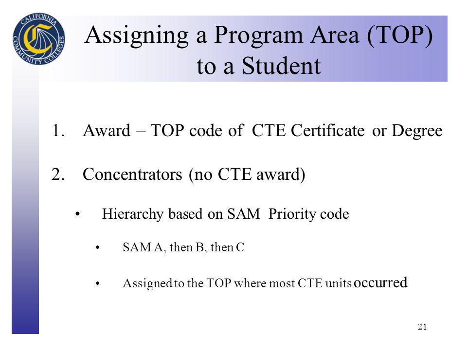 Click to edit Master title style 21 Assigning a Program Area (TOP) to a Student 1.Award – TOP code of CTE Certificate or Degree 2.Concentrators (no CTE award) Hierarchy based on SAM Priority code SAM A, then B, then C Assigned to the TOP where most CTE units occurred