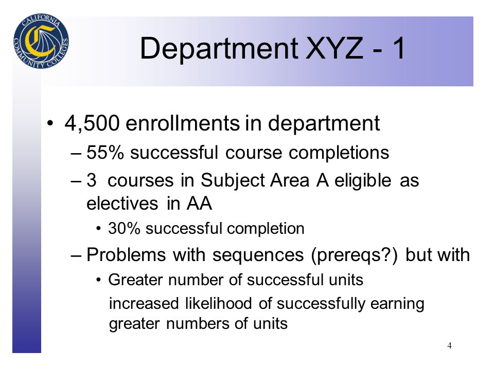 Click to edit Master title style 4 Department XYZ - 1 4,500 enrollments in department –55% successful course completions –3 courses in Subject Area A eligible as electives in AA 30% successful completion –Problems with sequences (prereqs ) but with Greater number of successful units increased likelihood of successfully earning greater numbers of units
