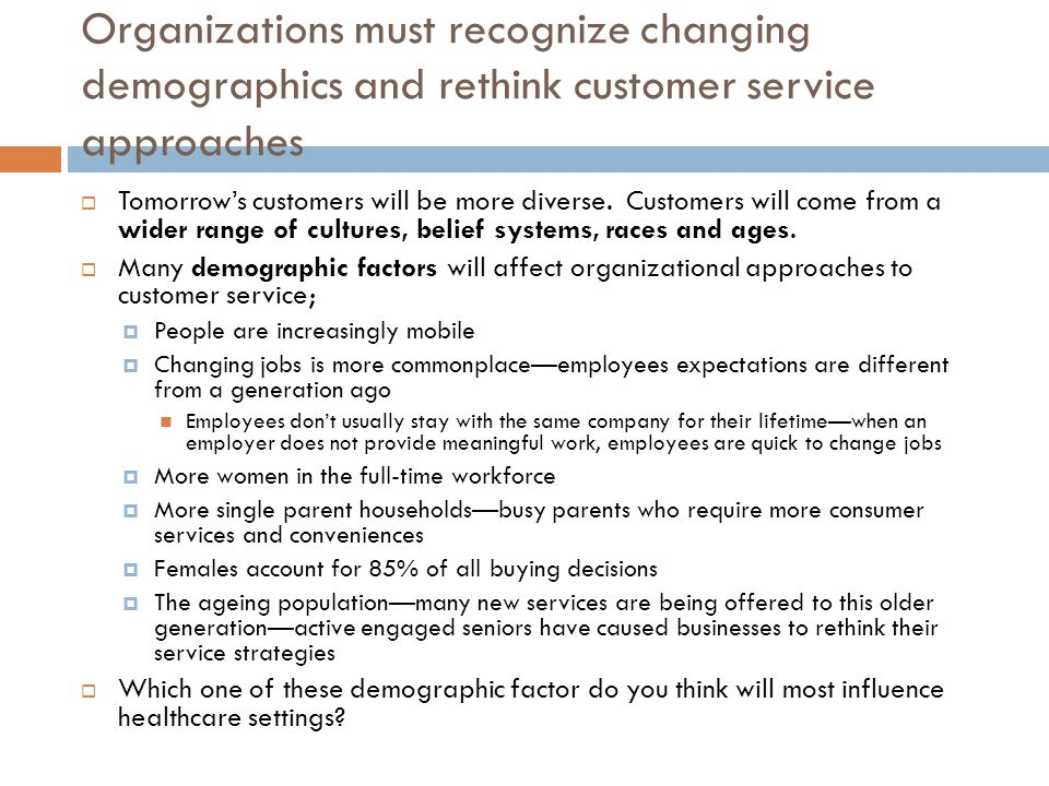 Organizations must recognize changing demographics and rethink customer service approaches  Tomorrow's customers will be more diverse.