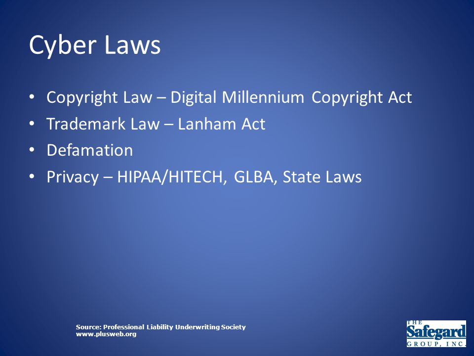 Cyber Laws Copyright Law – Digital Millennium Copyright Act Trademark Law – Lanham Act Defamation Privacy – HIPAA/HITECH, GLBA, State Laws Source: Professional Liability Underwriting Society www.plusweb.org