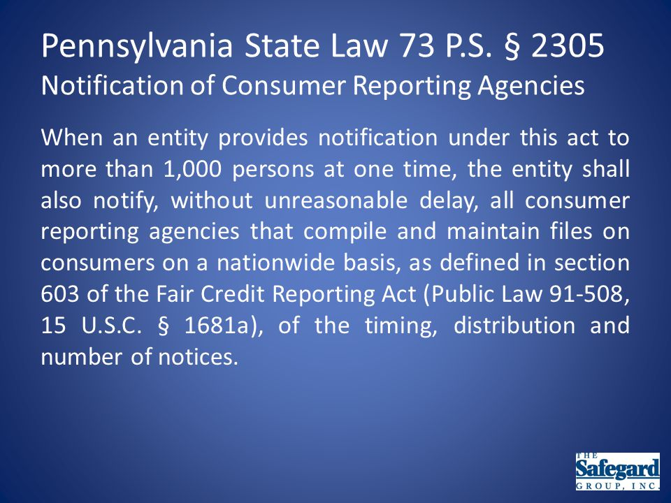 Pennsylvania State Law 73 P.S.