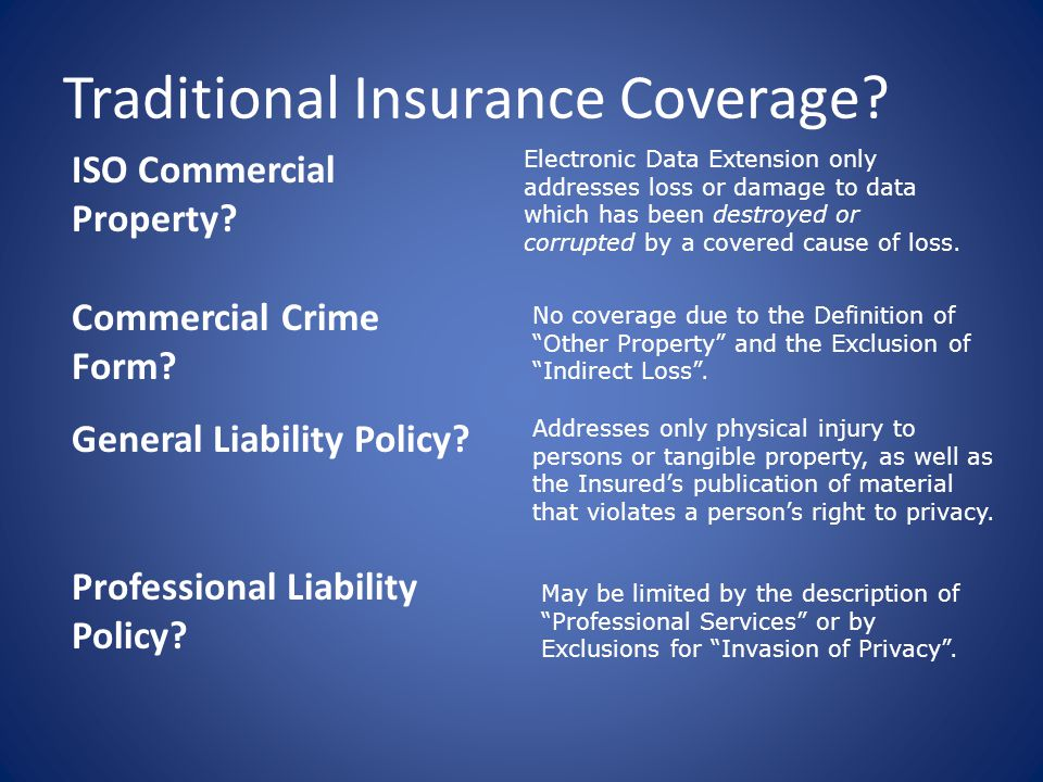 Traditional Insurance Coverage. ISO Commercial Property.