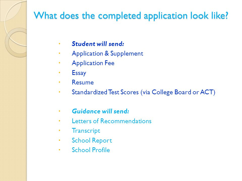 What does the completed application look like.