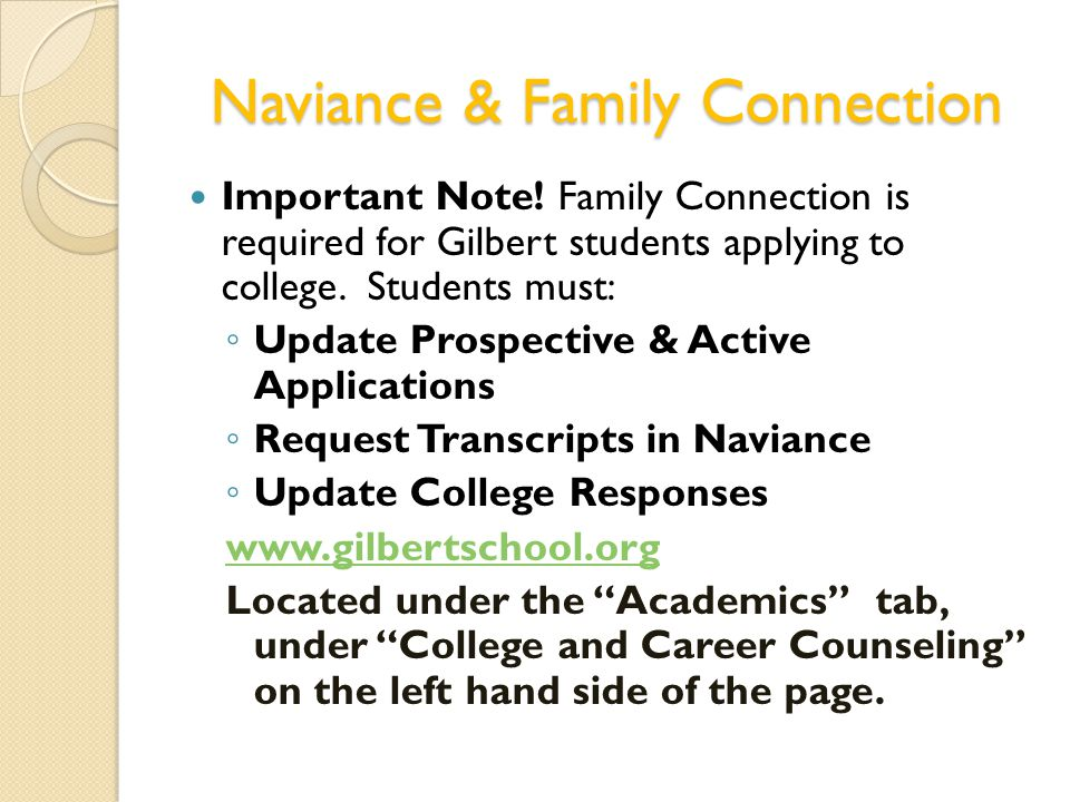 Naviance & Family Connection Important Note.