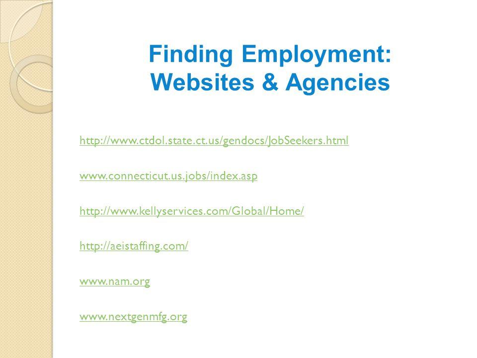 Finding Employment: Websites & Agencies http://www.ctdol.state.ct.us/gendocs/JobSeekers.html www.connecticut.us.jobs/index.asp http://www.kellyservices.com/Global/Home/ http://aeistaffing.com/ www.nam.org www.nextgenmfg.org