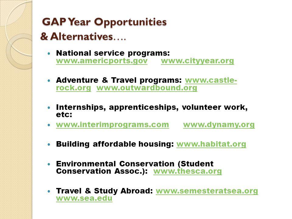 GAP Year Opportunities & Alternatives…. GAP Year Opportunities & Alternatives….