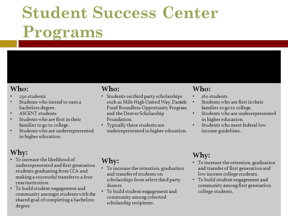Student Success Center Programs Transfer Success Program Community Partnerships (Students participate in either TSP or TRiO) TRiO Student Support Serv