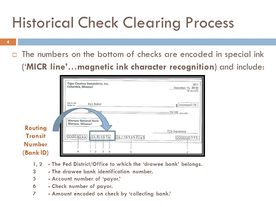 Historical Check Clearing Process 5  Depending on the size and location of the bank receiving the deposit (and its geographic location and size relative to the bank on which it is drawn), the availability schedule and the clearing options for non- On Us checks includes the physical exchange of checks by:  Sending them directly to the other institution (direct presentment).