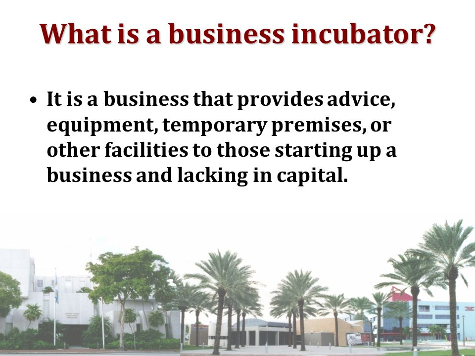 It is a business that provides advice, equipment, temporary premises, or other facilities to those starting up a business and lacking in capital.