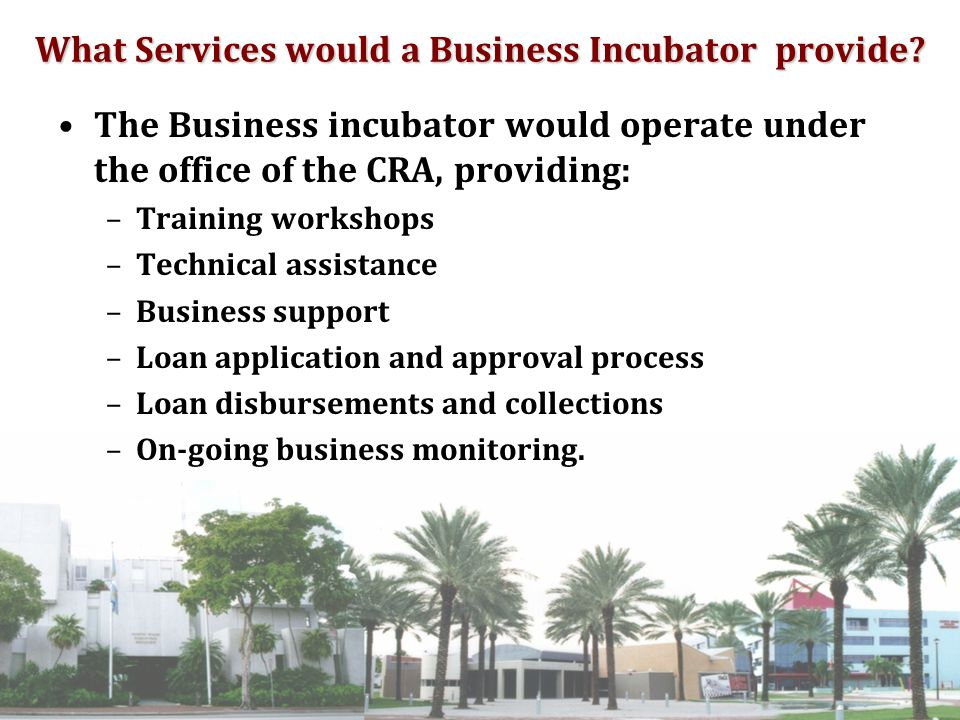 A business incubator will: Help revitalize a corridor Create jobs Establish new businesses Make established businesses more successful Increase the tax base of the City