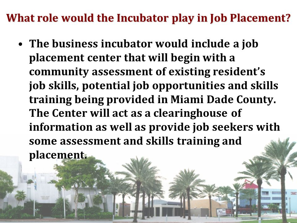 What role would the Incubator play in Job Placement.