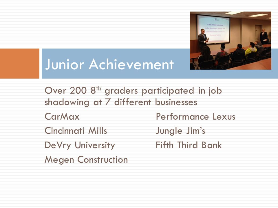 Over 200 8 th graders participated in job shadowing at 7 different businesses CarMaxPerformance Lexus Cincinnati MillsJungle Jim's DeVry UniversityFifth Third Bank Megen Construction Junior Achievement