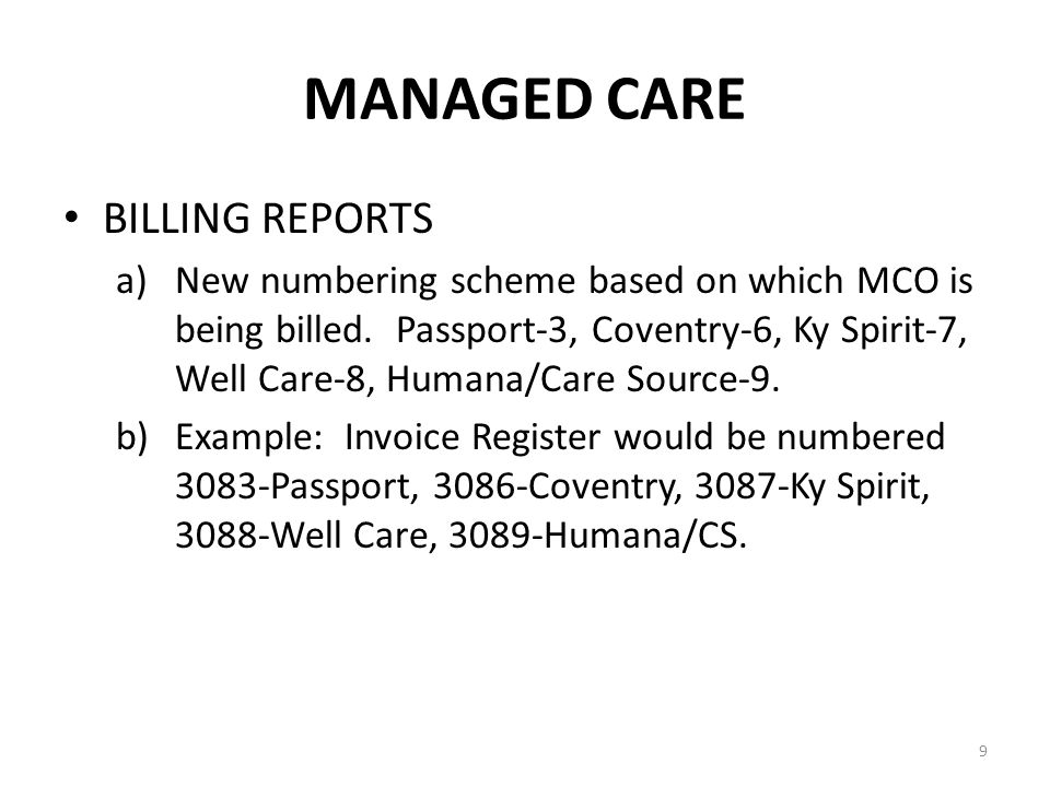 MANAGED CARE When entering managed care information on the registration screen, make sure the name and address on the card matches what is in the system.