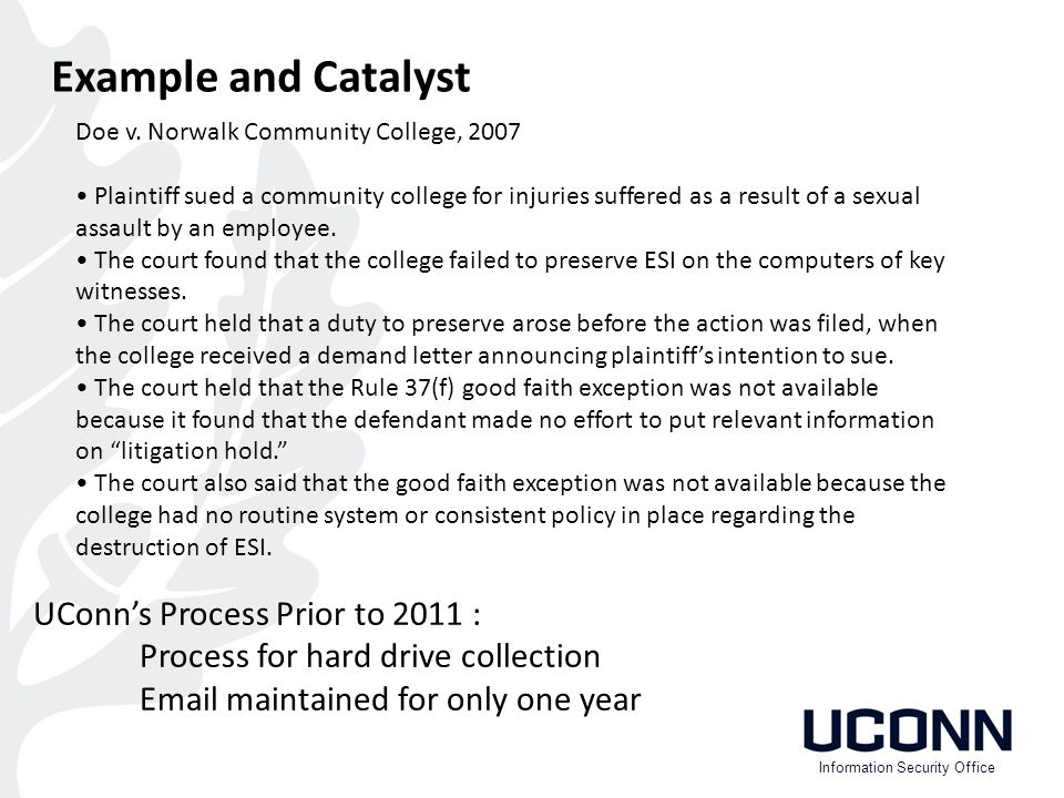 Example and Catalyst UConn's Process Prior to 2011 : Process for hard drive collection Email maintained for only one year Doe v.