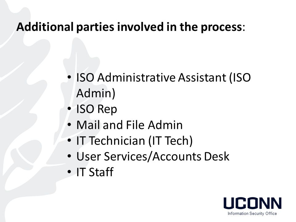 ISO Administrative Assistant (ISO Admin) ISO Rep Mail and File Admin IT Technician (IT Tech) User Services/Accounts Desk IT Staff Information Security Office Additional parties involved in the process: