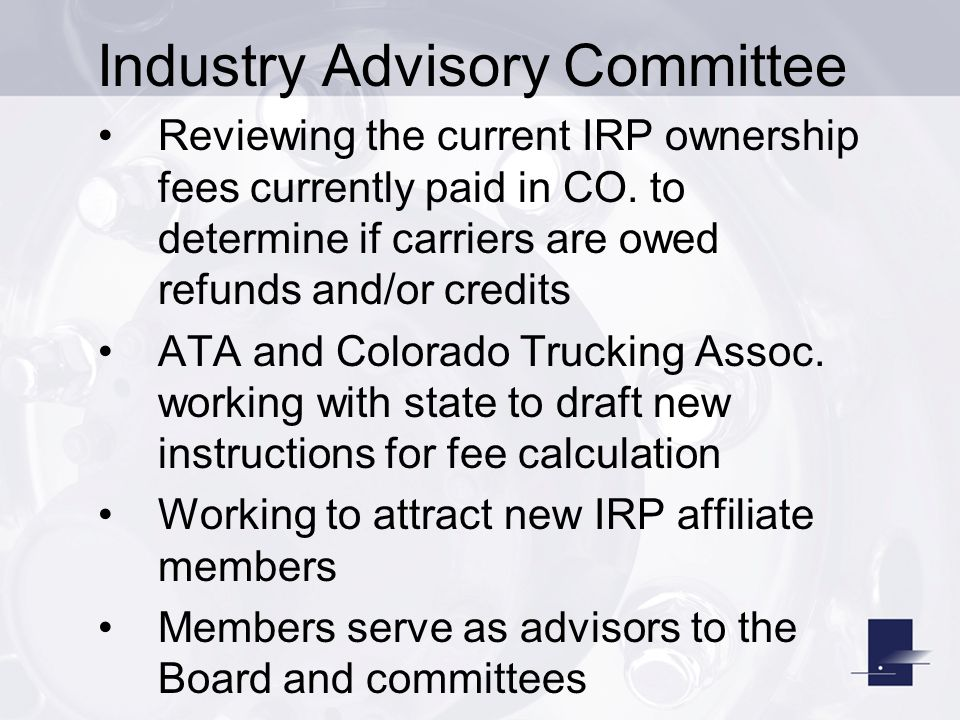 Reviewing the current IRP ownership fees currently paid in CO.