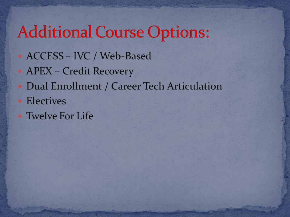 ACCESS – IVC / Web-Based APEX – Credit Recovery Dual Enrollment / Career Tech Articulation Electives Twelve For Life