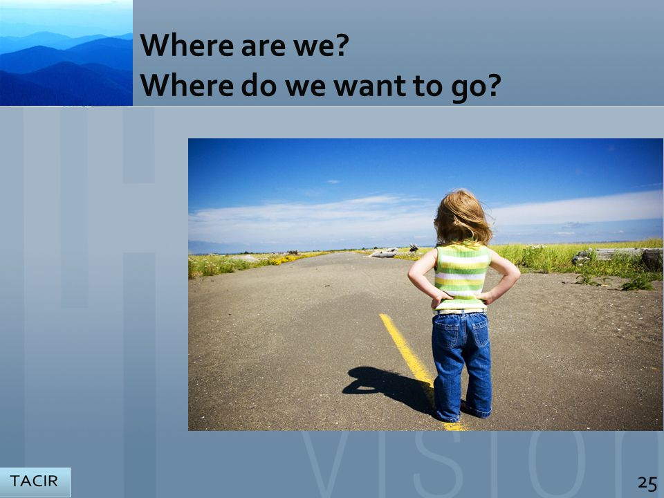 Where are we? Where do we want to go? 25