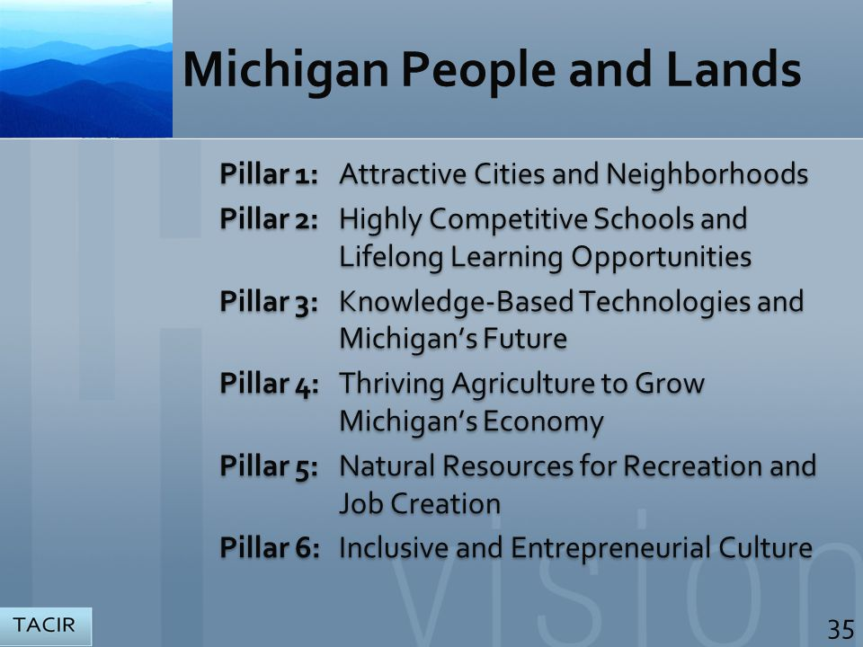 Michigan People and Lands Pillar 1:Attractive Cities and Neighborhoods Pillar 2:Highly Competitive Schools and Lifelong Learning Opportunities Pillar 3: Knowledge-Based Technologies and Michigan's Future Pillar 4: Thriving Agriculture to Grow Michigan's Economy Pillar 5: Natural Resources for Recreation and Job Creation Pillar 6: Inclusive and Entrepreneurial Culture Pillar 1:Attractive Cities and Neighborhoods Pillar 2:Highly Competitive Schools and Lifelong Learning Opportunities Pillar 3: Knowledge-Based Technologies and Michigan's Future Pillar 4: Thriving Agriculture to Grow Michigan's Economy Pillar 5: Natural Resources for Recreation and Job Creation Pillar 6: Inclusive and Entrepreneurial Culture 35
