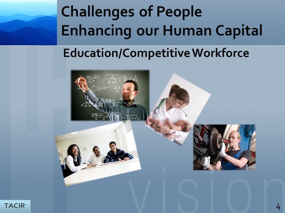 Education/Competitive Workforce Challenges of People Enhancing our Human Capital 4