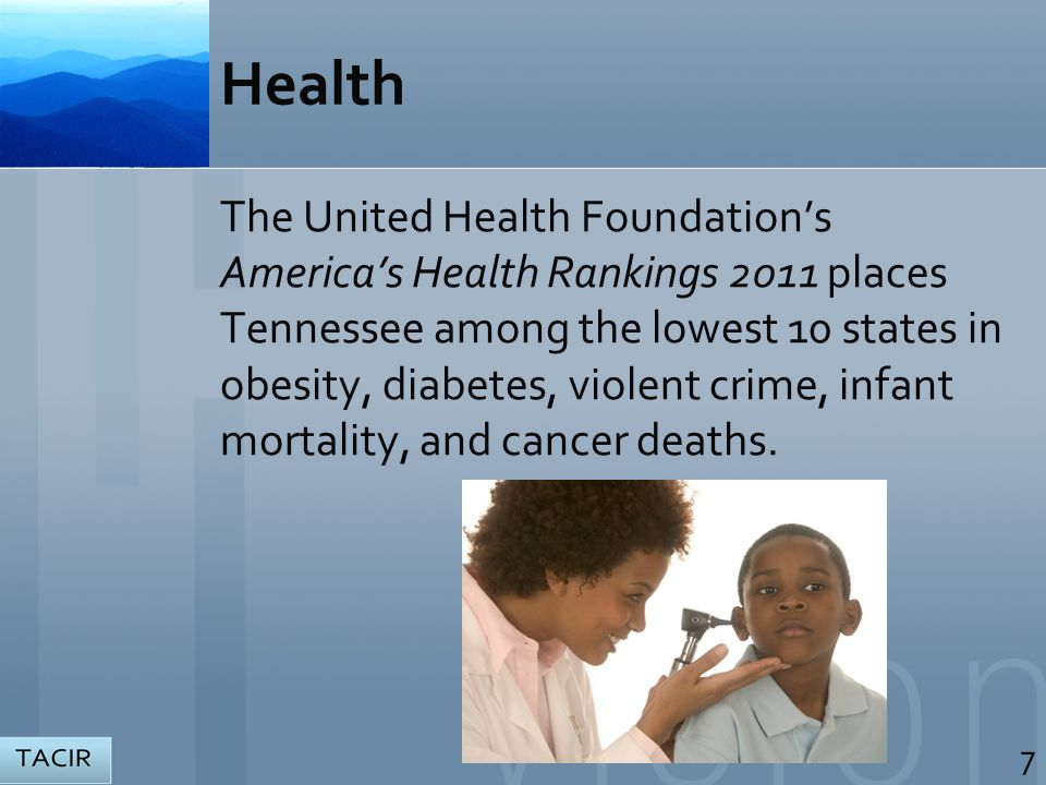 Health The United Health Foundation's America's Health Rankings 2011 places Tennessee among the lowest 10 states in obesity, diabetes, violent crime, infant mortality, and cancer deaths.
