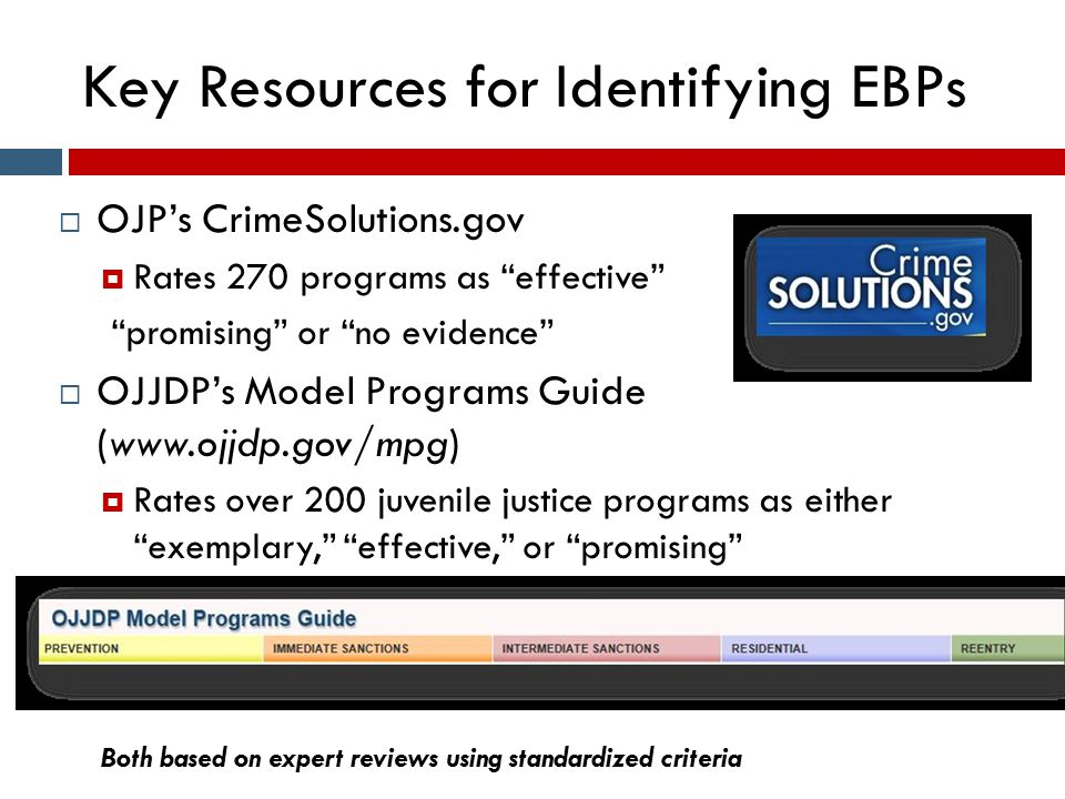 "Key Resources for Identifying EBPs  OJP's CrimeSolutions.gov  Rates 270 programs as ""effective"" ""promising"" or ""no evidence""  OJJDP's Model Program"