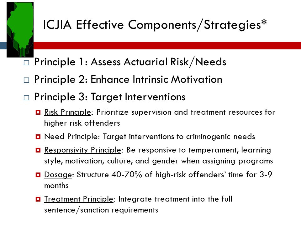 ICJIA Effective Components/Strategies*  Principle 1: Assess Actuarial Risk/Needs  Principle 2: Enhance Intrinsic Motivation  Principle 3: Target In