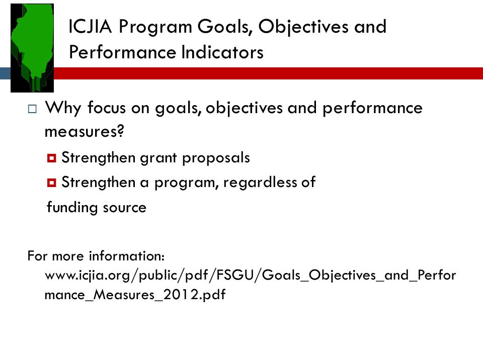 ICJIA Program Goals, Objectives and Performance Indicators  Why focus on goals, objectives and performance measures.