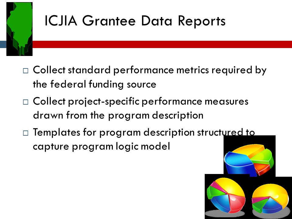 ICJIA Grantee Data Reports  Collect standard performance metrics required by the federal funding source  Collect project-specific performance measur