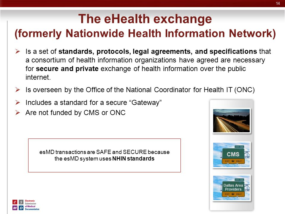 The eHealth exchange (formerly Nationwide Health Information Network)  Is a set of standards, protocols, legal agreements, and specifications that a