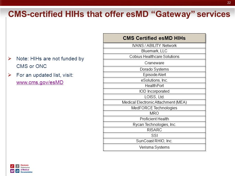 """22 CMS-certified HIHs that offer esMD """"Gateway"""" services  Note: HIHs are not funded by CMS or ONC  For an updated list, visit: www.cms.gov/esMD www."""
