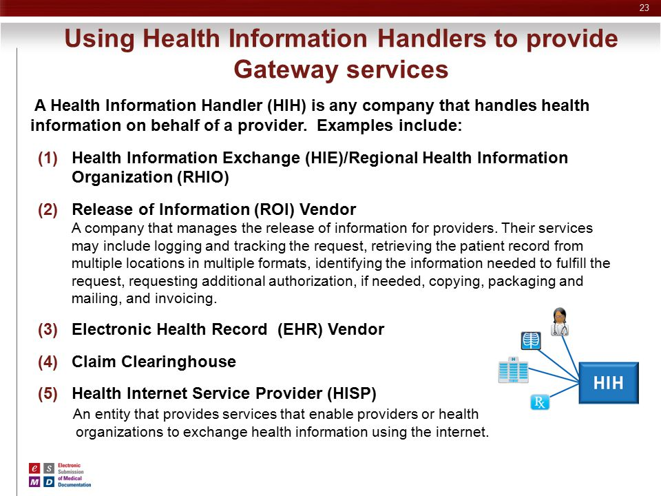 Using Health Information Handlers to provide Gateway services A Health Information Handler (HIH) is any company that handles health information on beh
