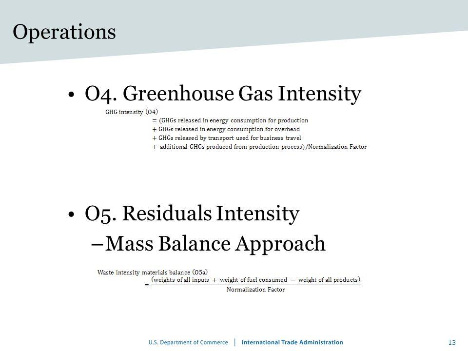 Operations O4. Greenhouse Gas Intensity O5. Residuals Intensity –Mass Balance Approach 13