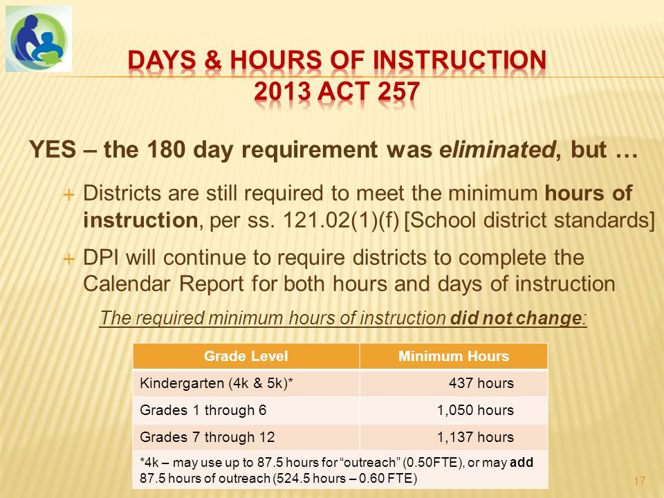 YES – the 180 day requirement was eliminated, but …  Districts are still required to meet the minimum hours of instruction, per ss.