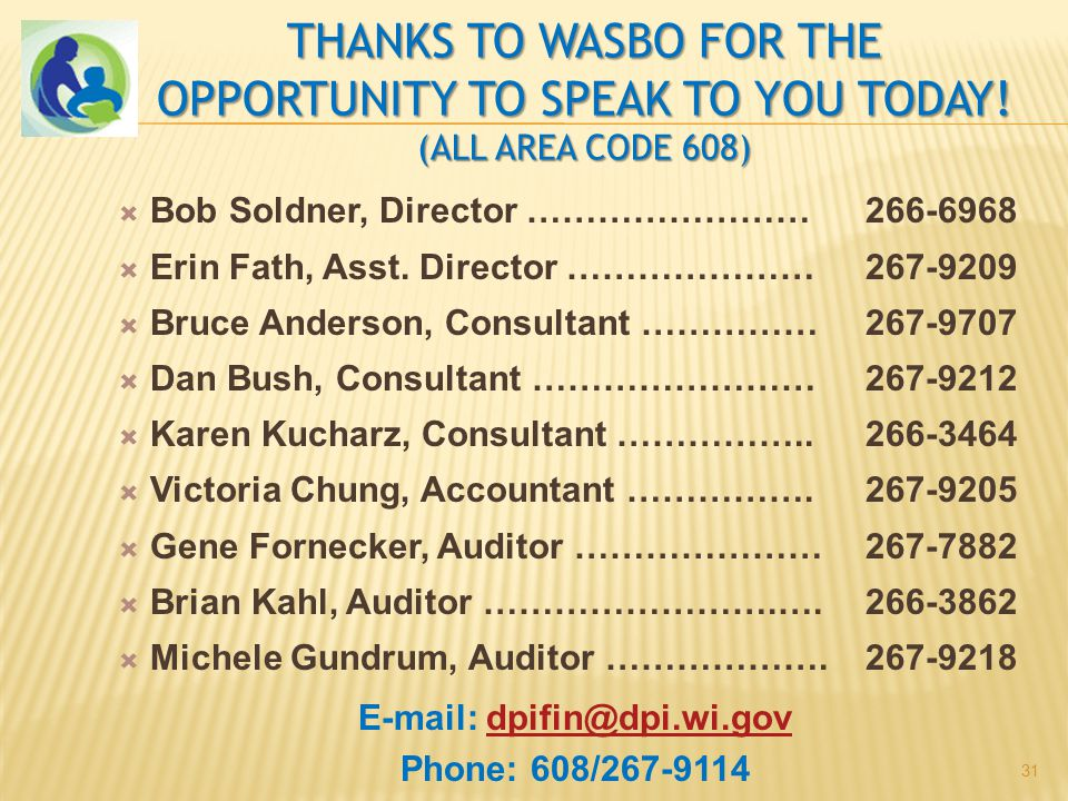 THANKS TO WASBO FOR THE OPPORTUNITY TO SPEAK TO YOU TODAY.