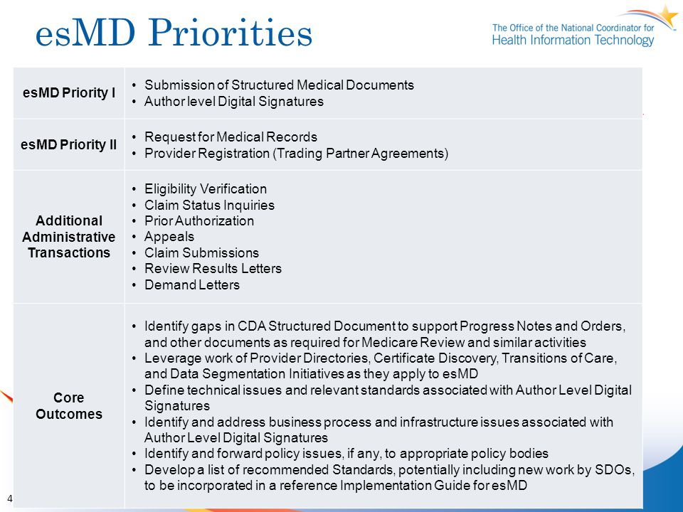 esMD Priorities 4 esMD Priority I Submission of Structured Medical Documents Author level Digital Signatures esMD Priority II Request for Medical Records Provider Registration (Trading Partner Agreements) Additional Administrative Transactions Eligibility Verification Claim Status Inquiries Prior Authorization Appeals Claim Submissions Review Results Letters Demand Letters Core Outcomes Identify gaps in CDA Structured Document to support Progress Notes and Orders, and other documents as required for Medicare Review and similar activities Leverage work of Provider Directories, Certificate Discovery, Transitions of Care, and Data Segmentation Initiatives as they apply to esMD Define technical issues and relevant standards associated with Author Level Digital Signatures Identify and address business process and infrastructure issues associated with Author Level Digital Signatures Identify and forward policy issues, if any, to appropriate policy bodies Develop a list of recommended Standards, potentially including new work by SDOs, to be incorporated in a reference Implementation Guide for esMD