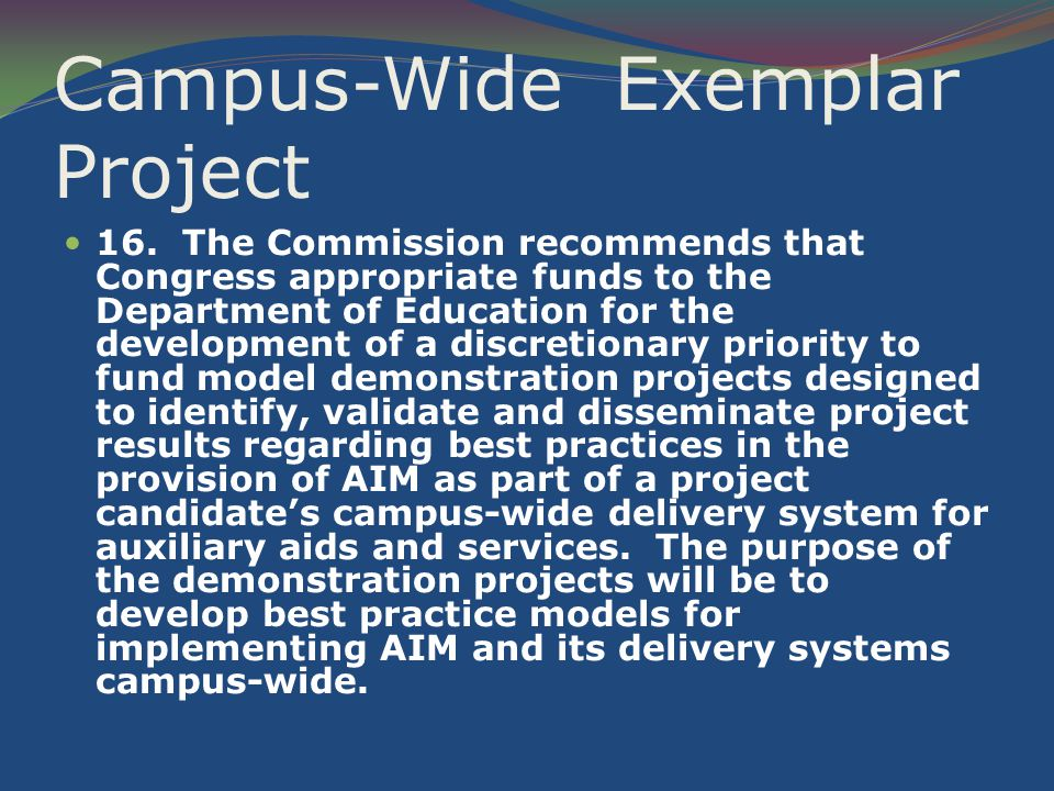 Campus-Wide Exemplar Project 16.